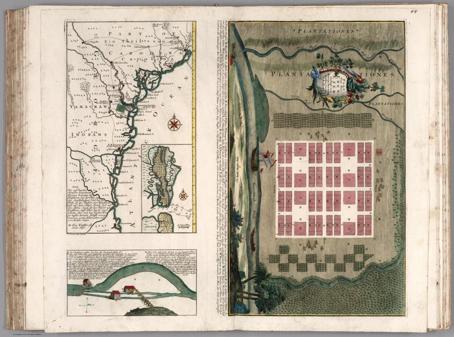 44. Composite: Plan von Neu Ebenezer (with) Coasts of South Carolina, Georgia, Florida. Savannah mills.