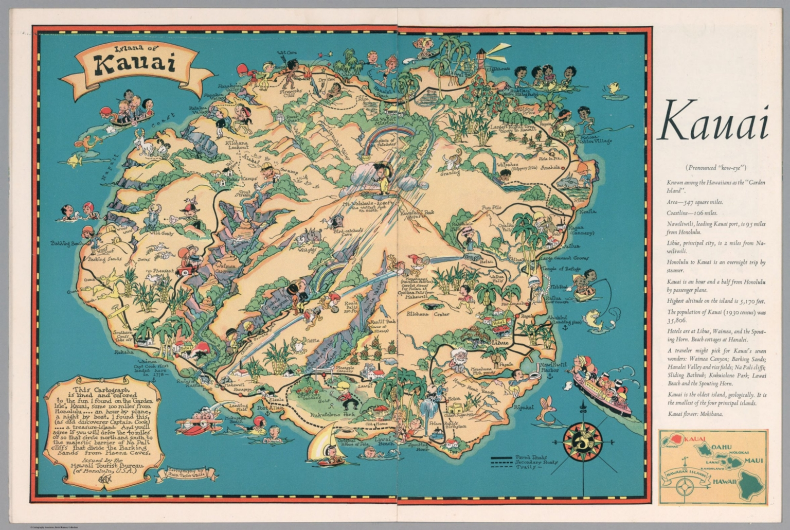 graphic about Printable Map of Kauai called Kauai. - David Rumsey Historic Map Selection