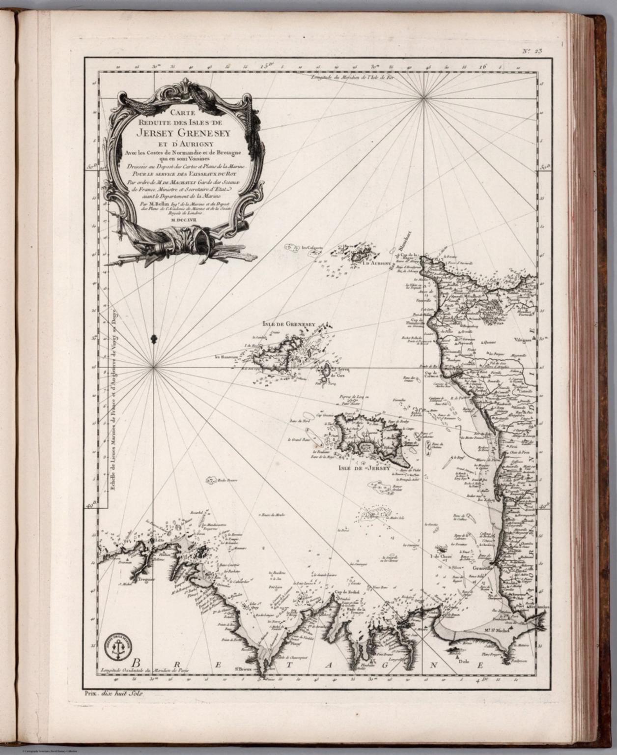 Carte Reduite des Isles de Jersey, Grenesy et d'Aurigny.