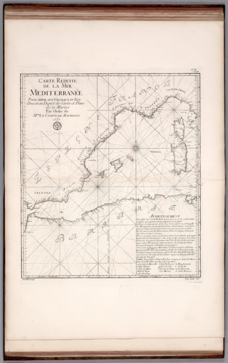 Carte Reduite de la Mer Mediterranee (western sheet).