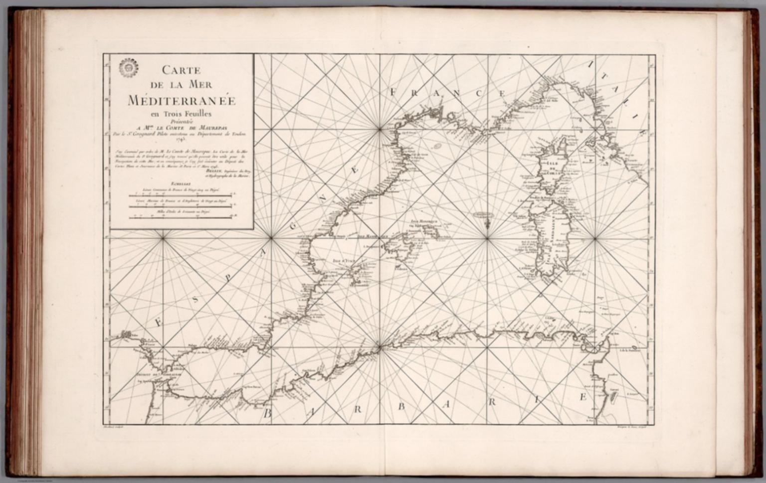 Carte de la Mer Mediterranee en Trois Feuilles (western sheet).