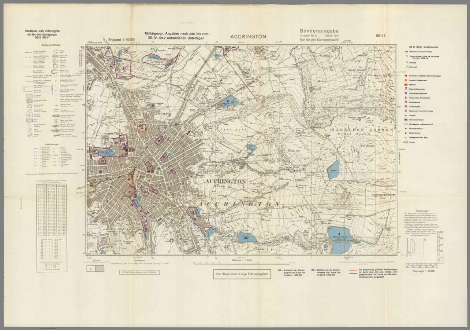 Map 9f England.Street Map Of Accrington England With Military Geographic Features