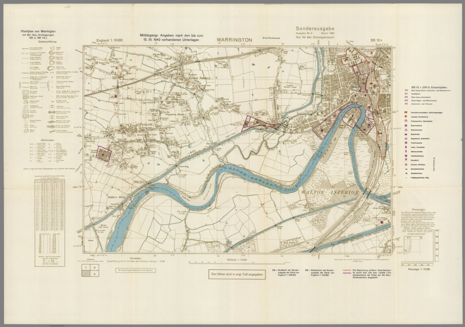 Street Map of Warrington, England with Military-Geographic Features ...