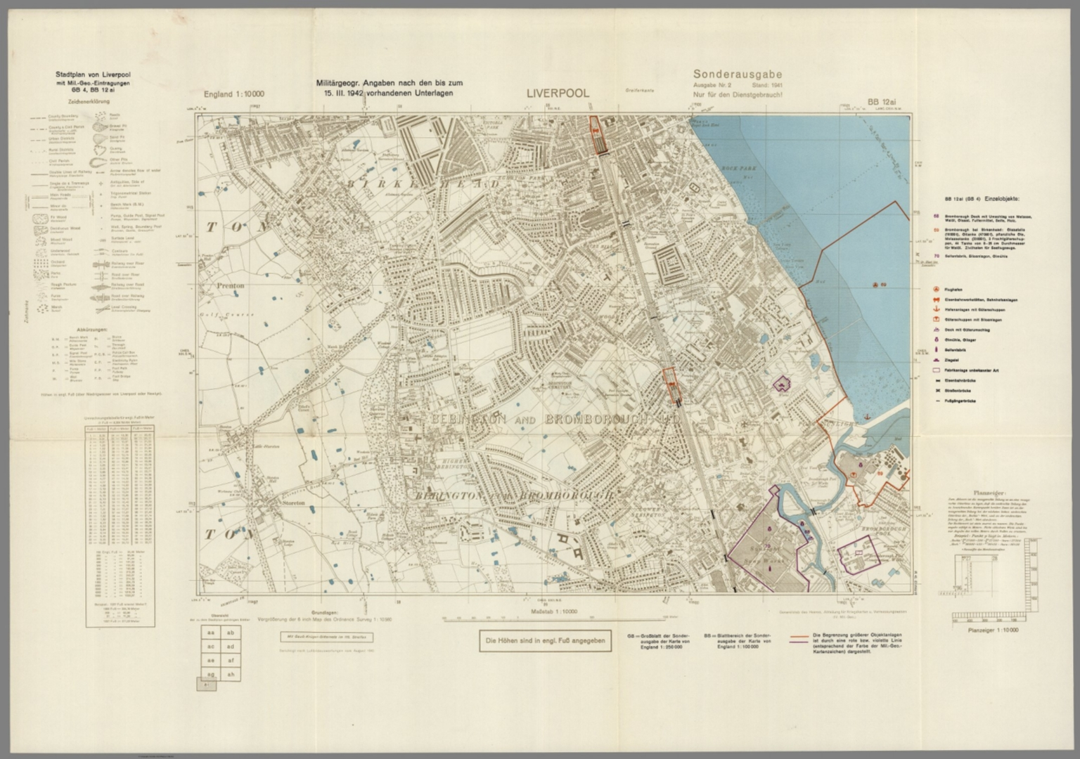 Street Map of Liverpool, England with Military-Geographic Features ...
