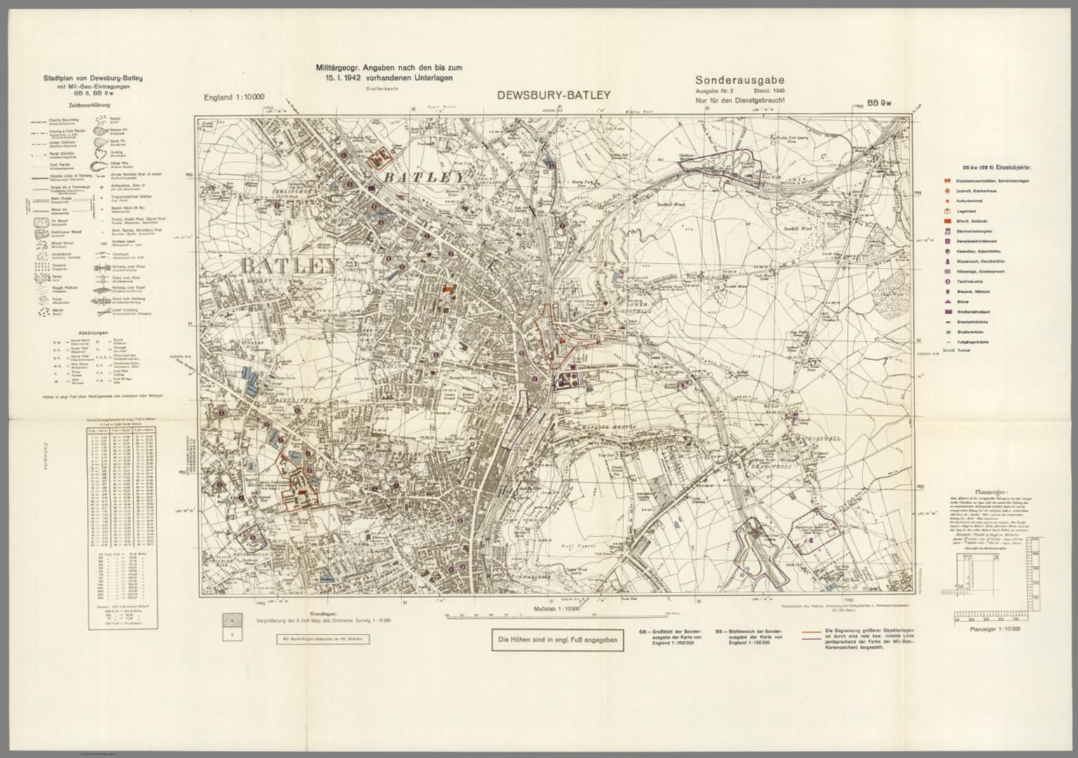 Street Map of DewsburyBatley England with MilitaryGeographic