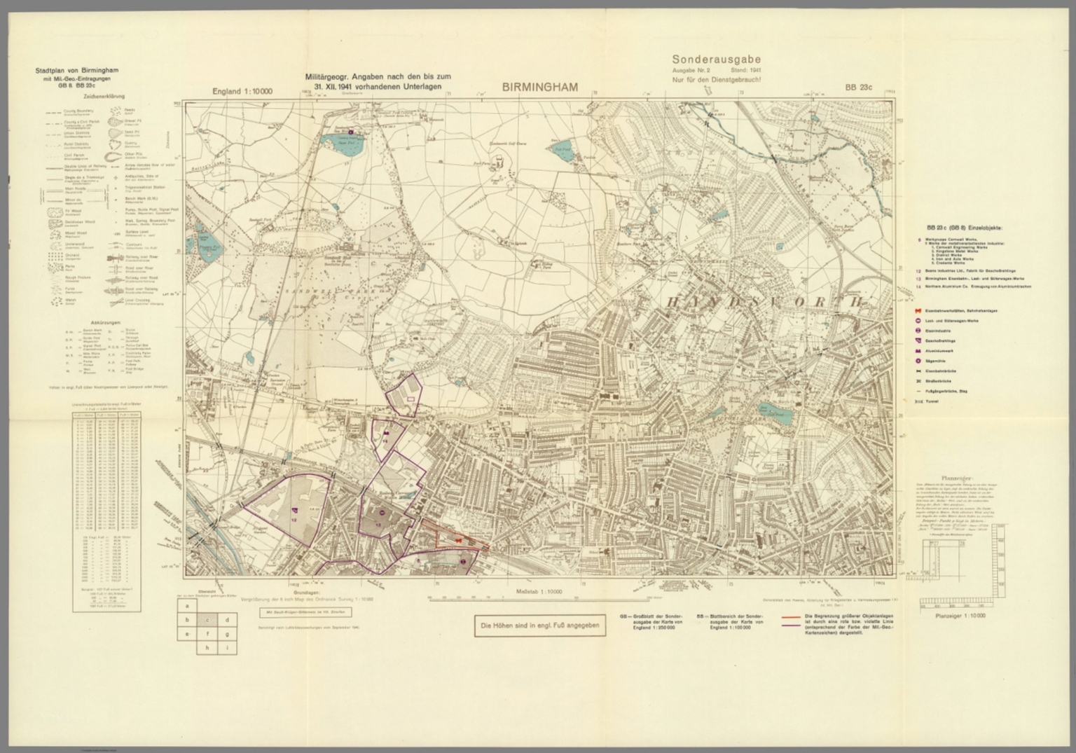 Birmingham Karte England.Street Map Of Birmingham England With Military Geographic