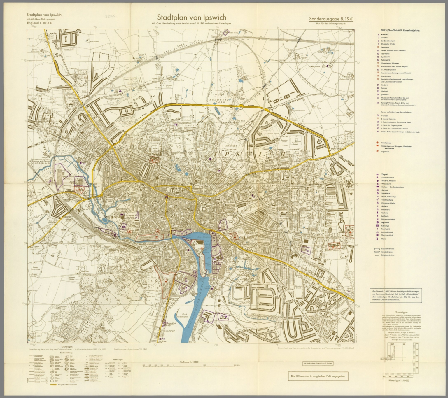 Street Map of Ipswich England with MilitaryGeographic Features BB