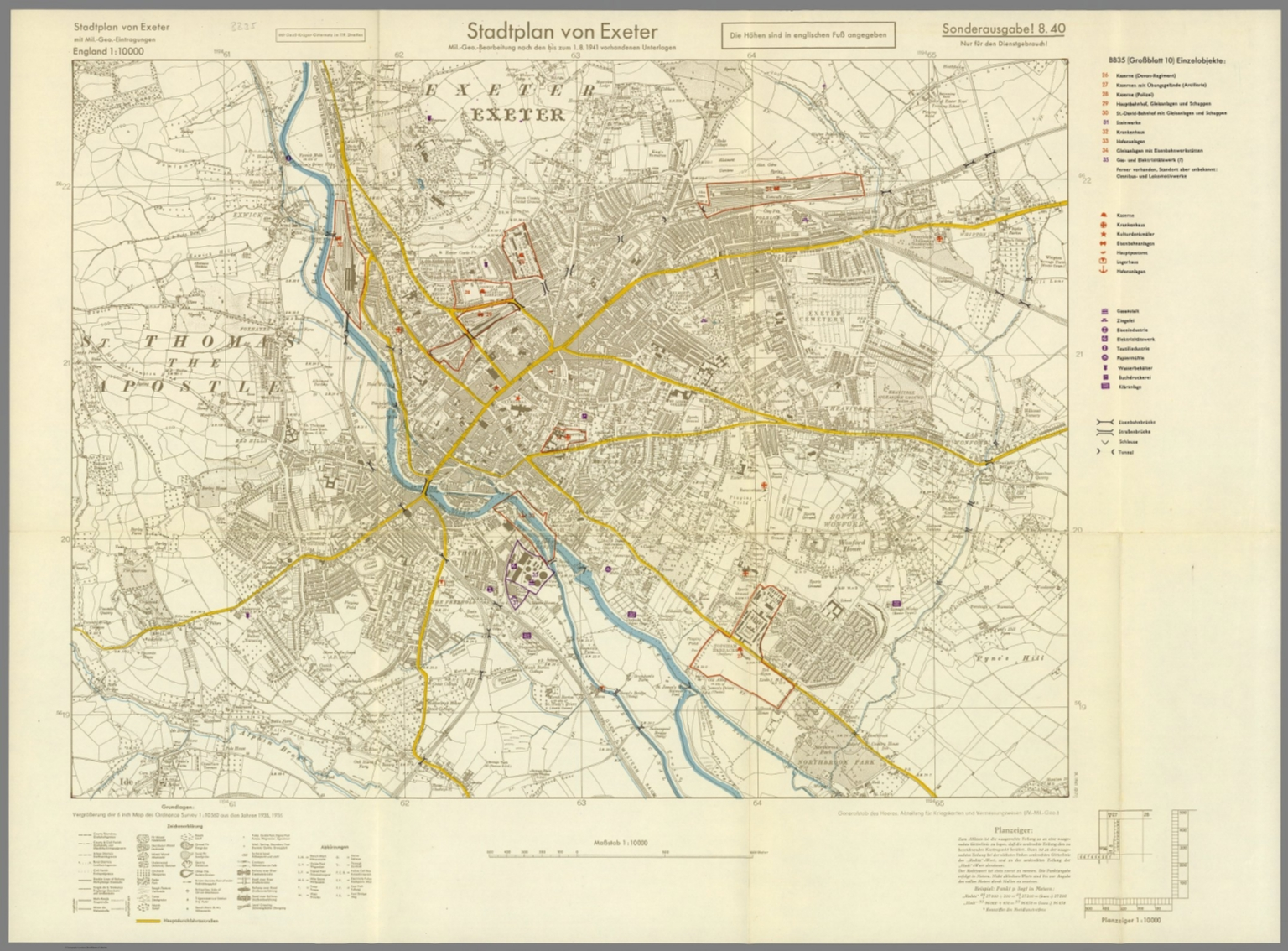 Street Map of Exeter England with MilitaryGeographic Features BB
