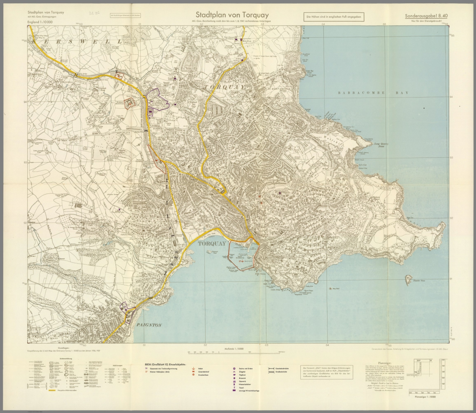 Street Map of Torquay England with MilitaryGeographic Features BB