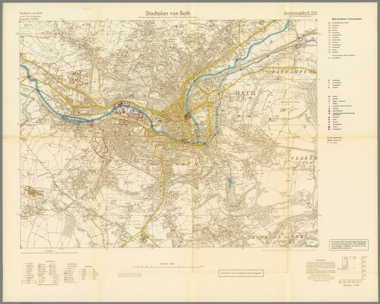 Street Map Of Bath England With Military Geographic Features Bb 32