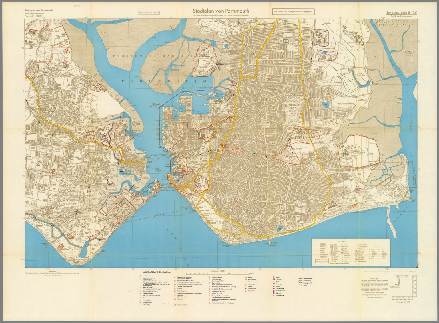Geographic Map Of England.Street Map Of Portsmouth England With Military Geographic Features