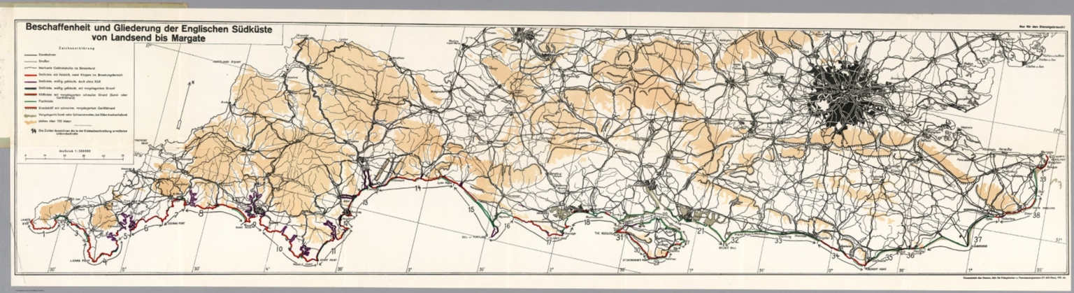 Lands End England Map.South Coast Land S End To Margate England David Rumsey