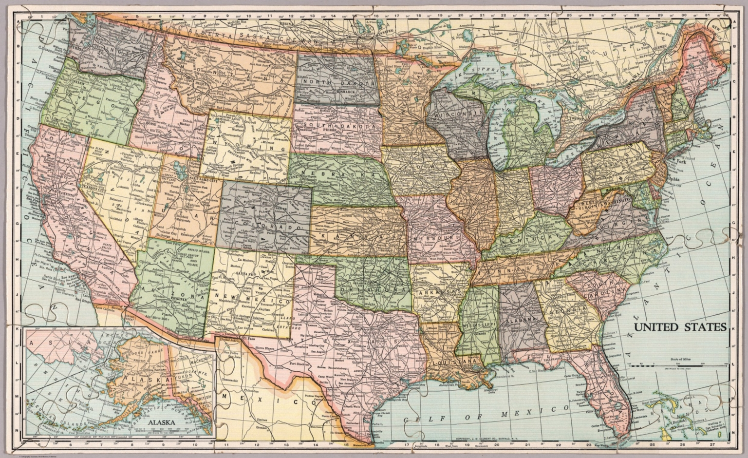 United States map. Die-Cut on State Lines. - David Rumsey Historical ...