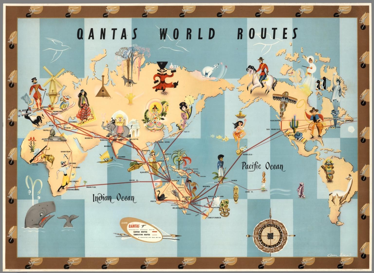 Qantas world routes anna drew david rumsey historical map collection qantas world routes anna drew gumiabroncs Gallery