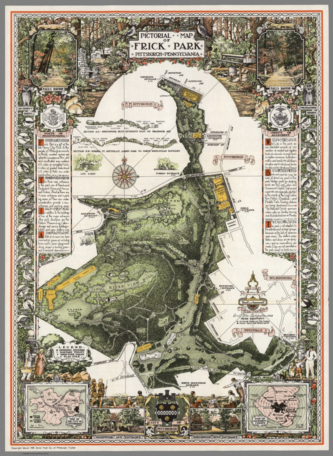 Pictorial Map of Frick Park, Pittsburgh, Pennsylvania ...