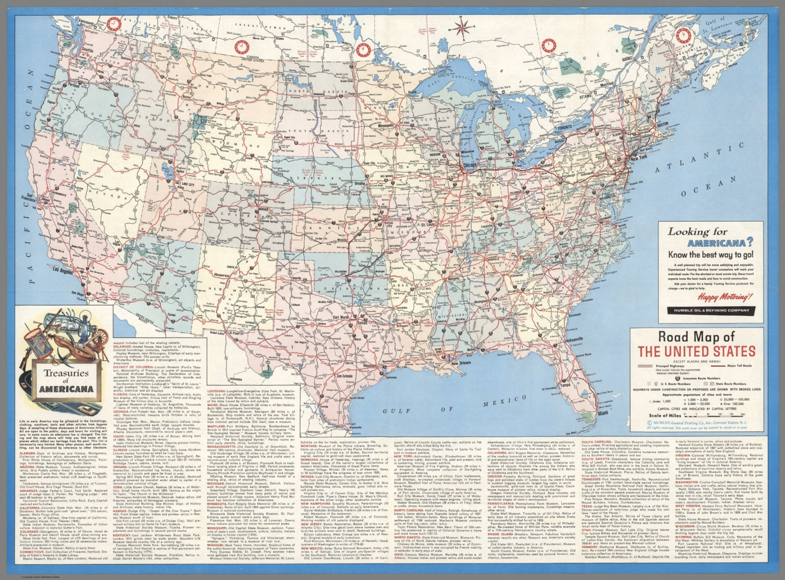 road map of the united states except alaska and hawaii mcmlxii 1962
