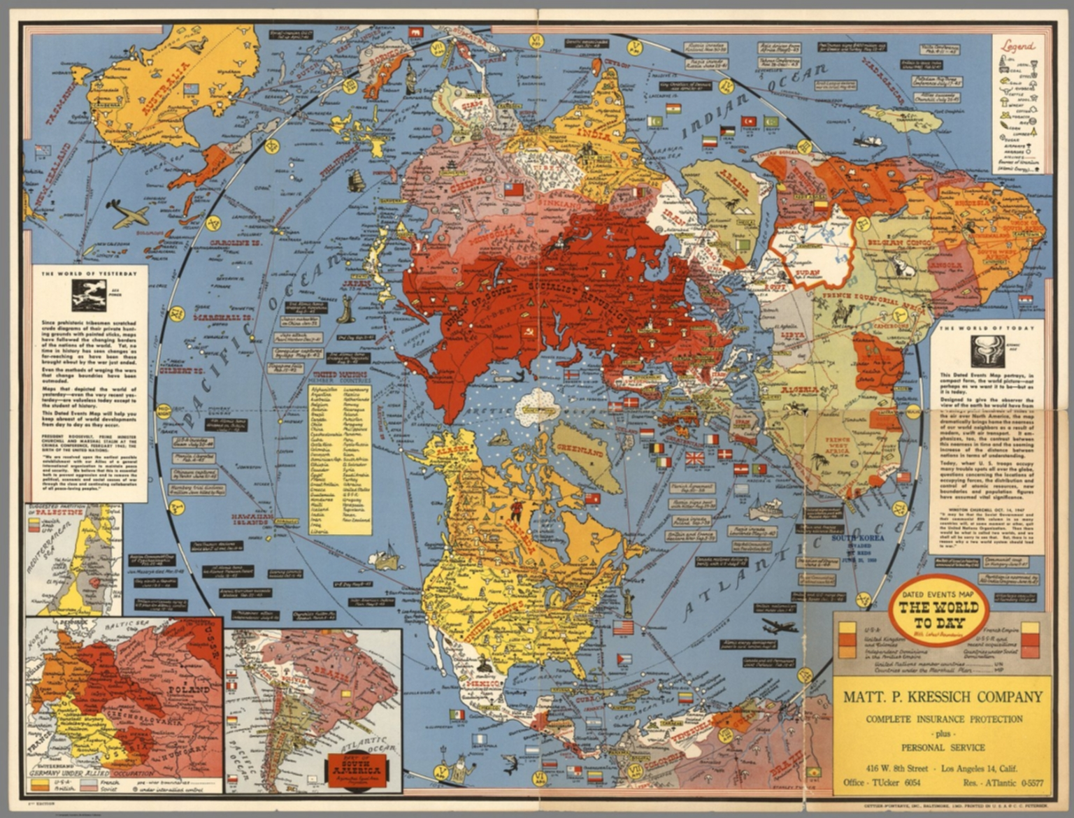 1948 World Map.Dated Events Map The World Today With Latest Boundaries 1948