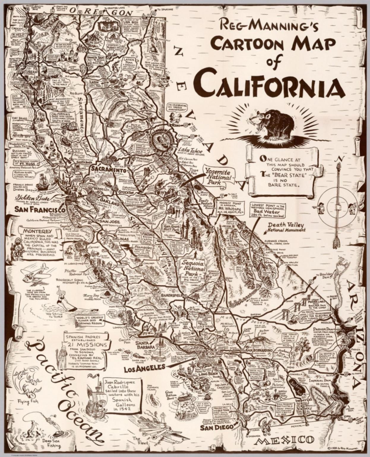 California Map Cartoon.Separate Map Reg Manning S Cartoon Map Of California David