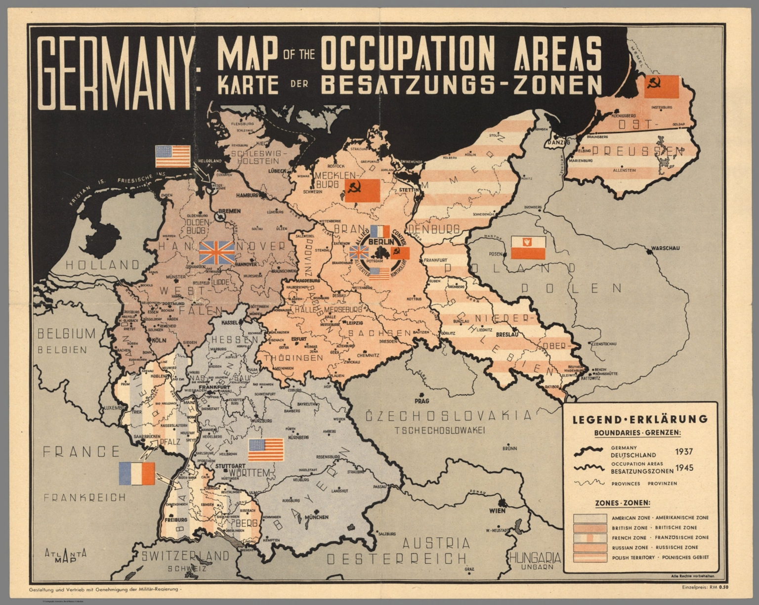 germany map of the occupation areas carte der besatzungs zonen