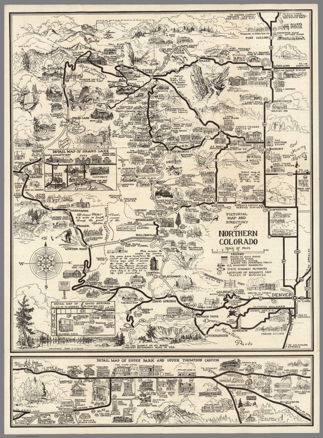 Pictorial Map and Directory of Northern Colorado. Map of Estes Park ...