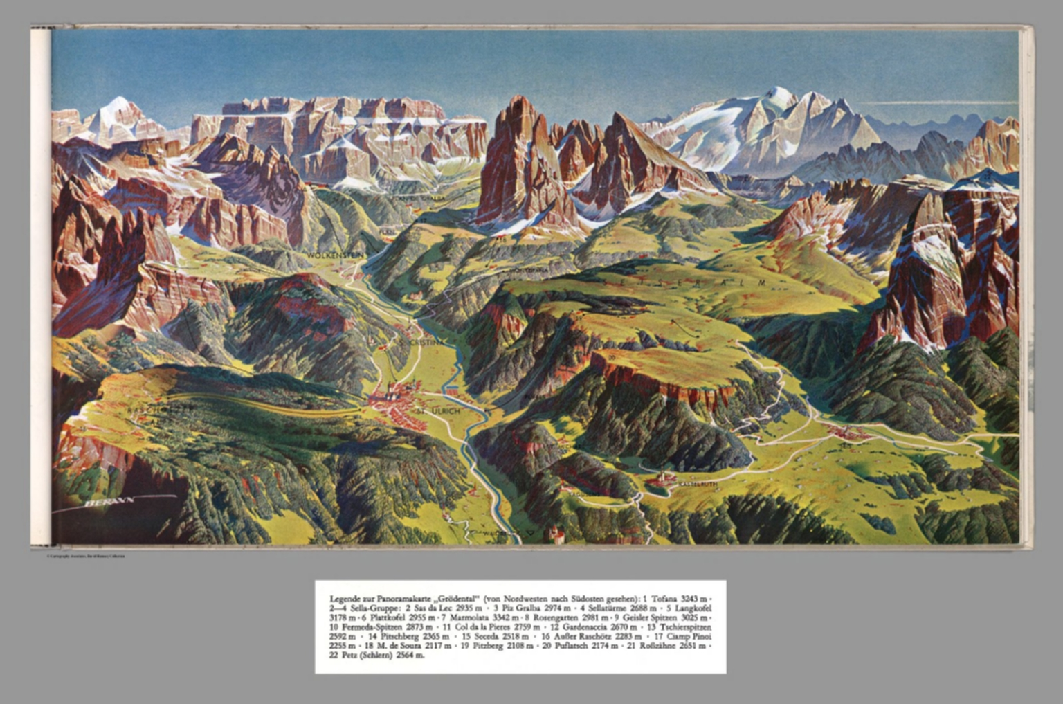 Composite of Text (Caption) and Map: XX. Groedental, Dolomites ... on