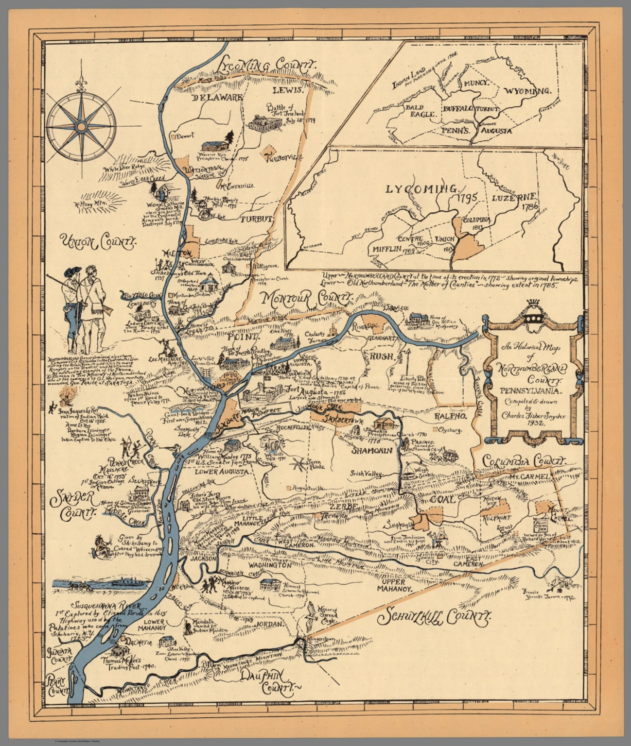 Historical Map of Northumberland County, Pennsylvania. By ... on old maps of columbia county, old schools in st. croix county wi, old texas state map,