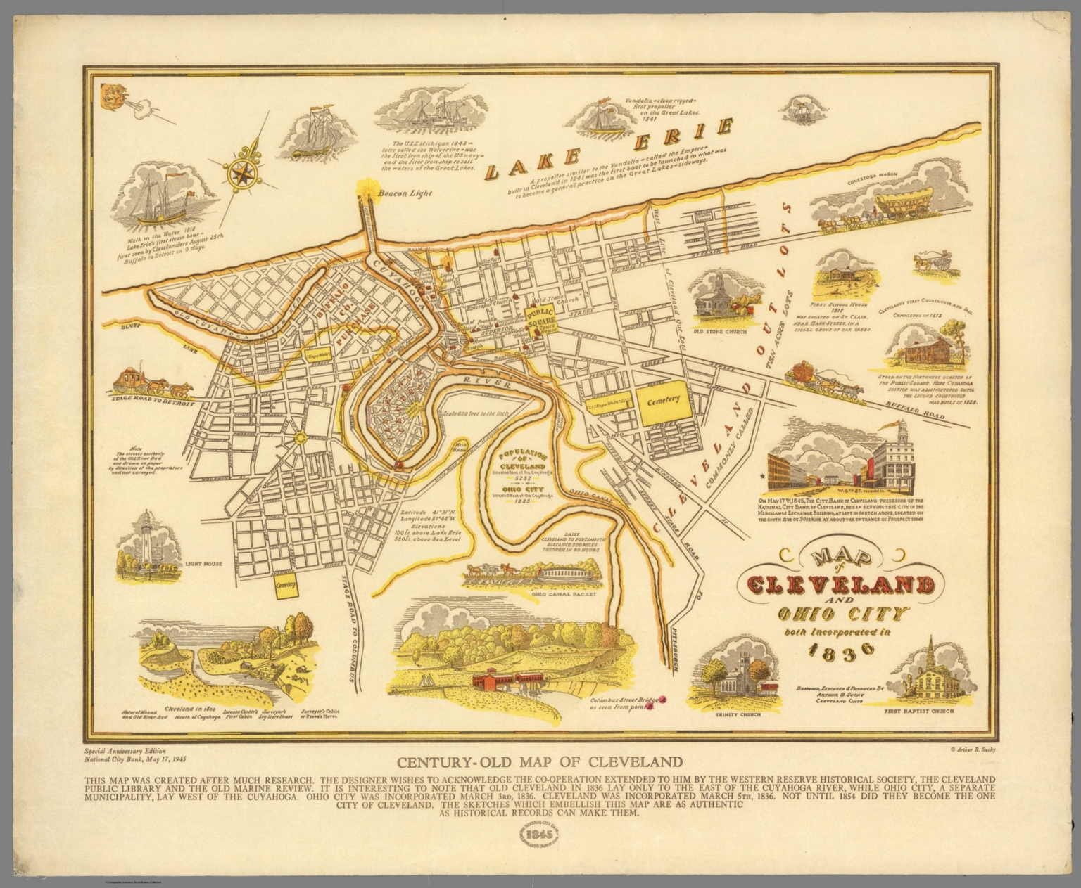 Map Of Cleveland And Ohio City Both Incorporated In 1836 Century