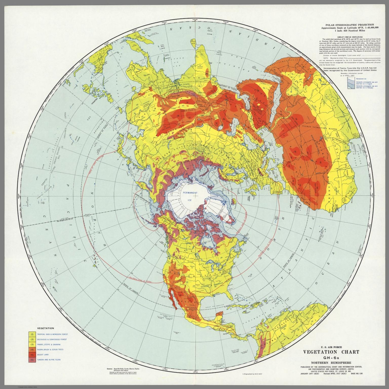 U.S. Air Force. Vegetation Chart GH-6a, Northern Hemisphere. - David ...