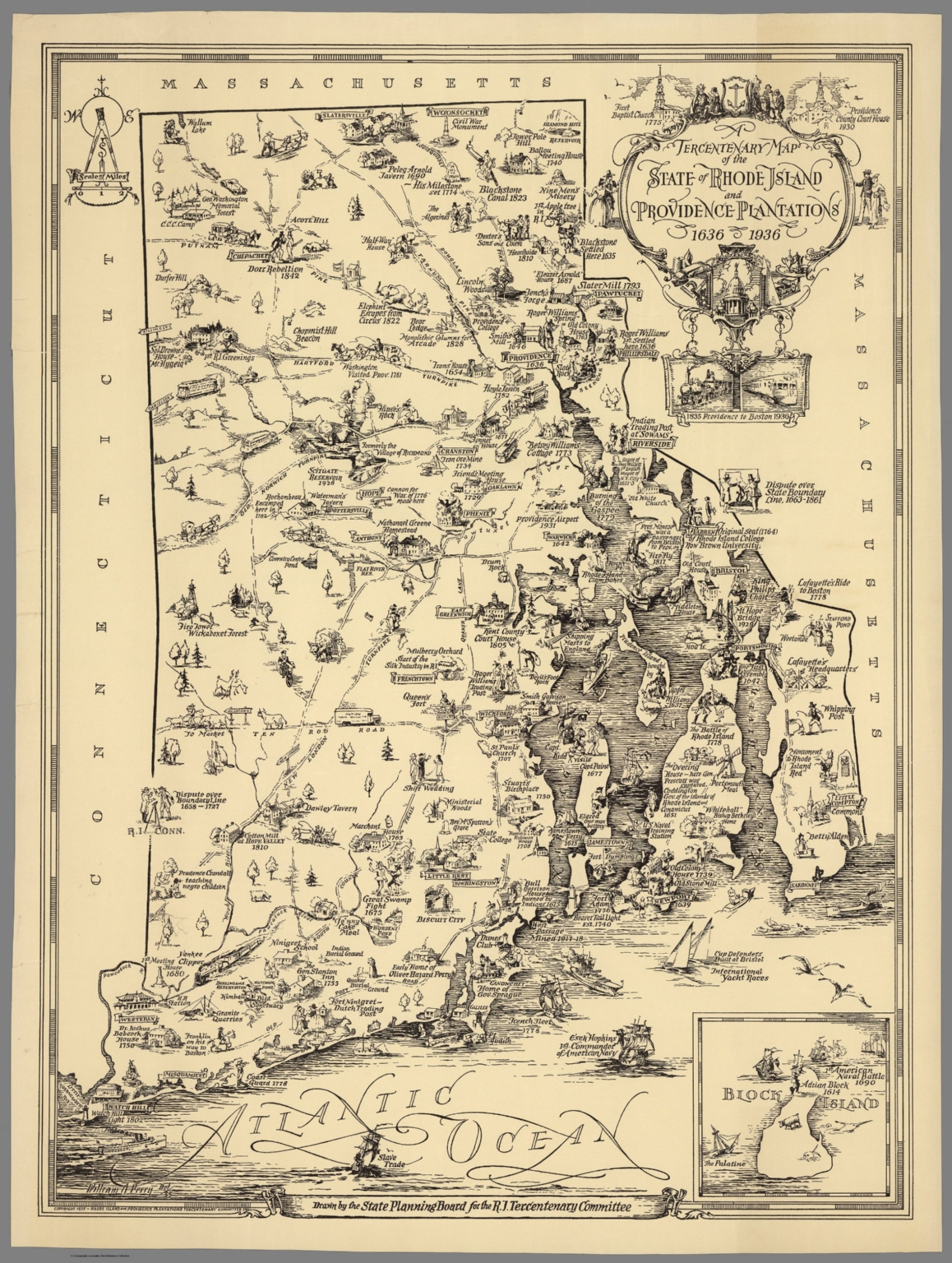 Tercentenary Map of the State of Rhode Island and Providence Plantations  1636 - 1936.
