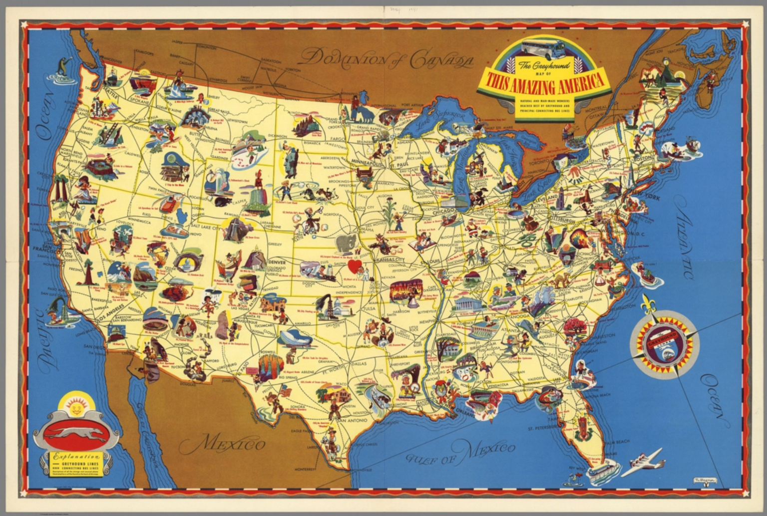 Greyhound Usa Map.Greyhound Bus Lines Map Of This Amazing America Natural And Man