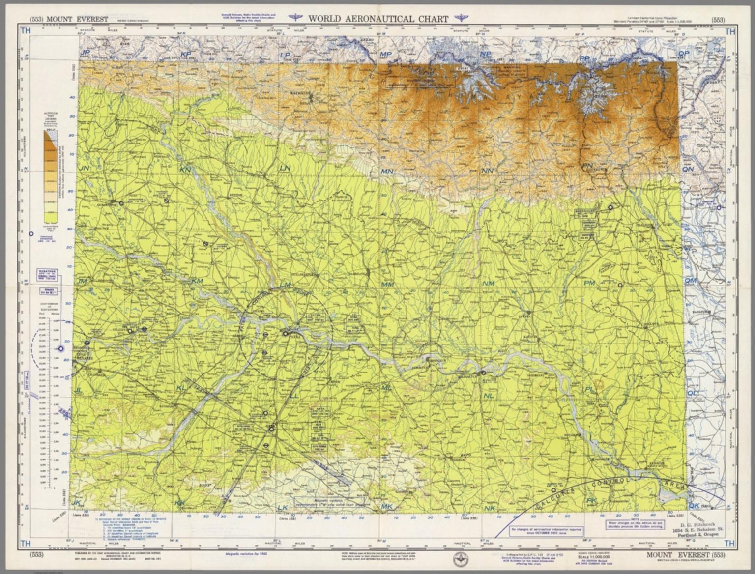 World Aeronautical Chart Mount Everest 553