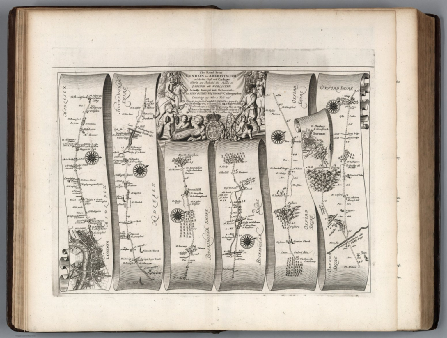 Road from London to Aberistwith. Plate I. London to Islip and Oxford.
