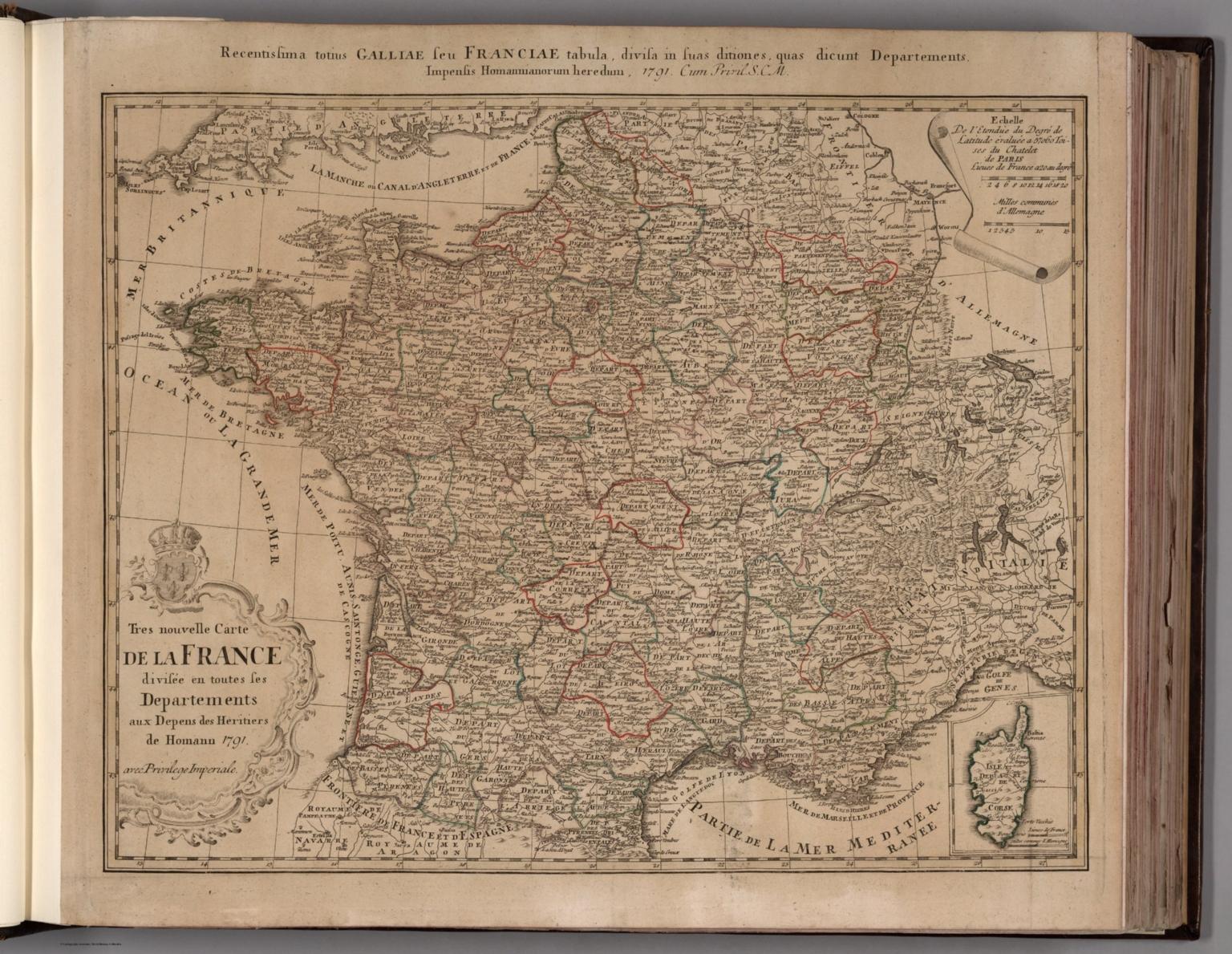 Tres nouvelle Carte de la France divisee en toutes ses Departements.