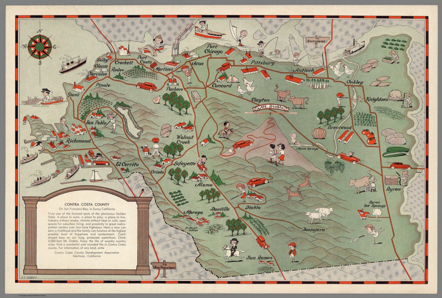 Image of: Contra Costa County On San Francisco Bay In Sunny California David Rumsey Historical Map Collection