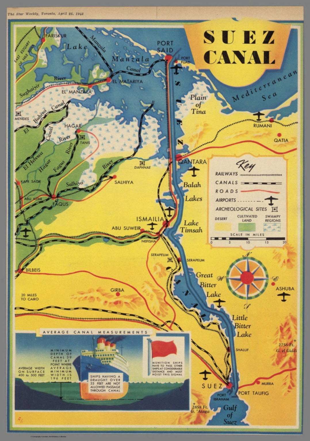 Suez Canal The Star Weekly Toronto April 25 1942 David Rumsey