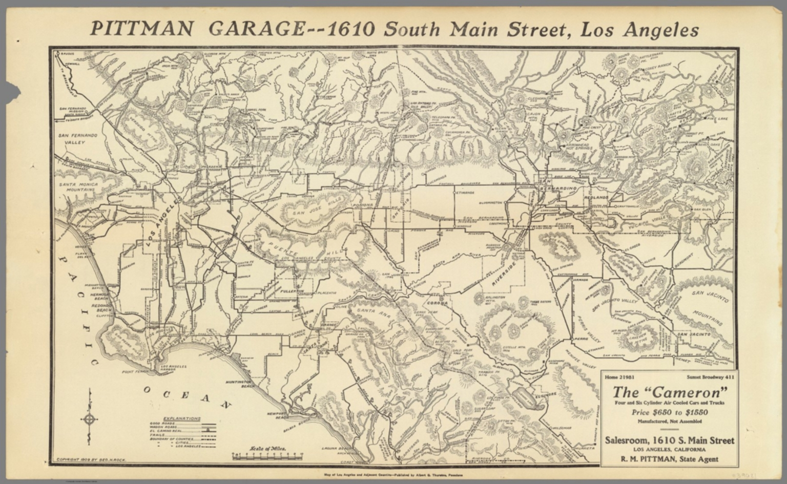 Map of Los Angeles and adjacent counties