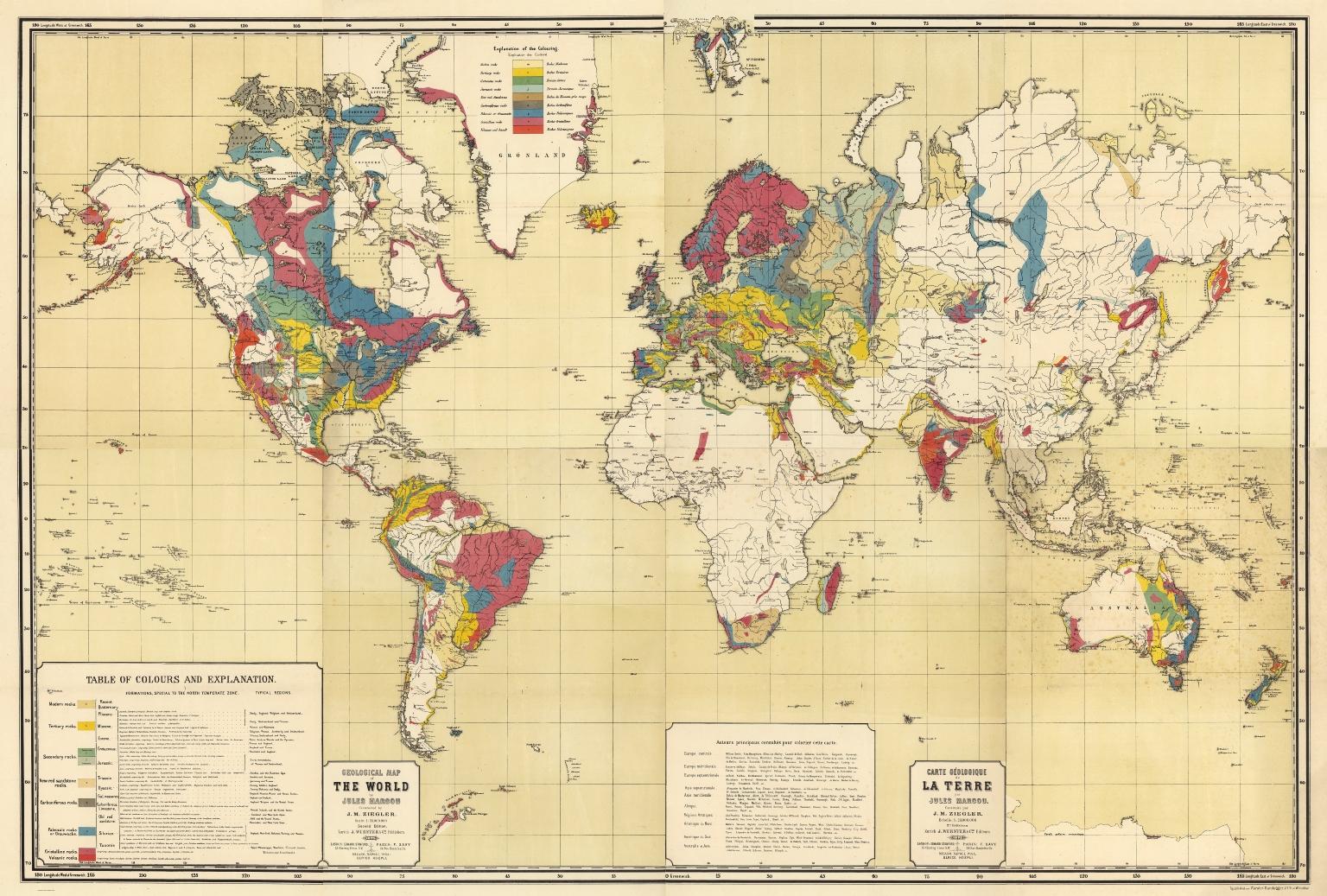 Composite map: Geological map of the world. Carte geologique de la