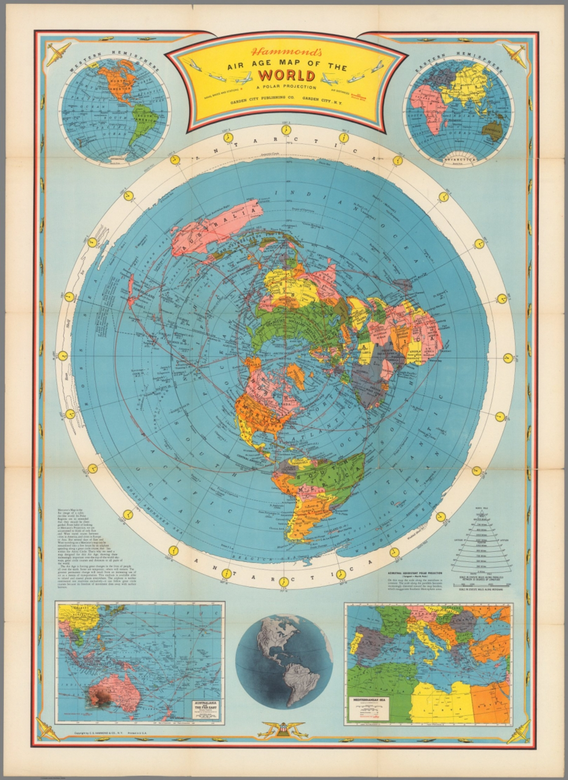 Air Map Of The World.Air Age Map Of The World A Polar Projection David Rumsey