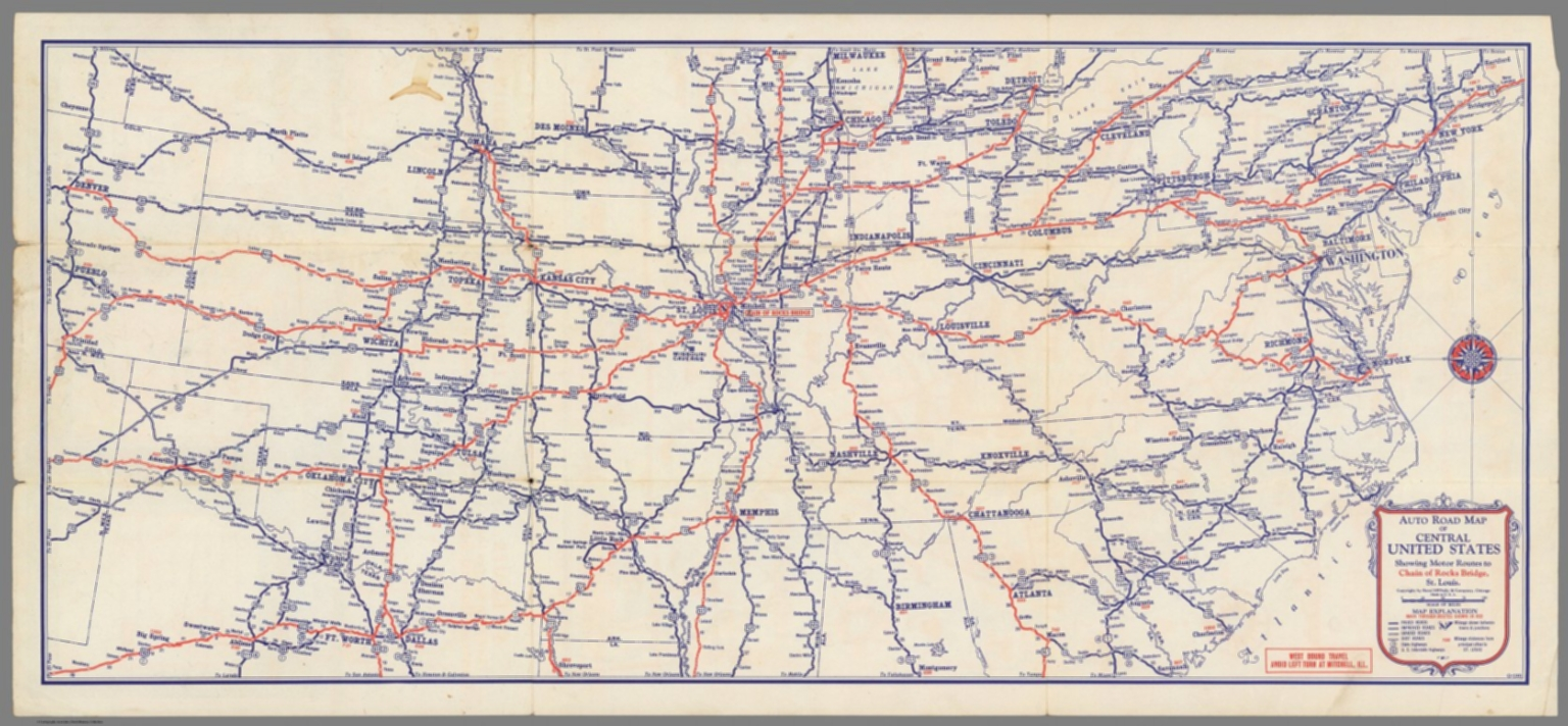 Auto road map of Central United States - David Rumsey Historical Map ...
