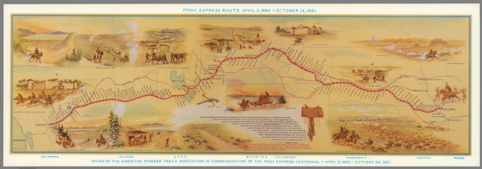 Pony Express Route April 3 1860 October 24 1861 David Rumsey