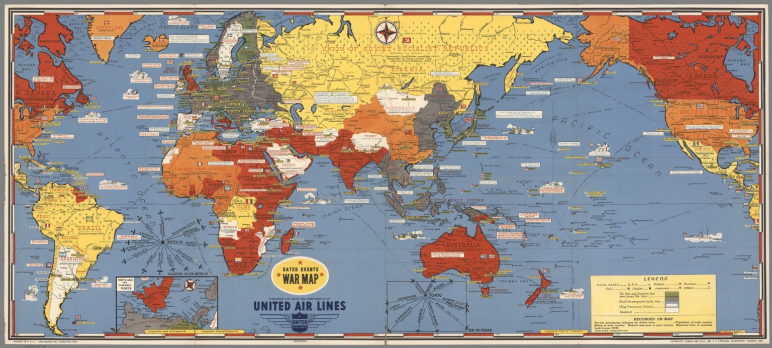 Dated Events War Map. 1945. 14th Edition. - David Rumsey Historical ...