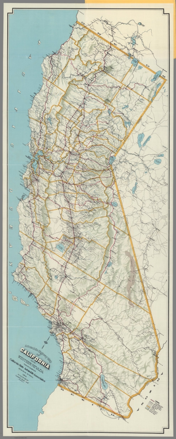 Automobile highway map of California and western Nevada David