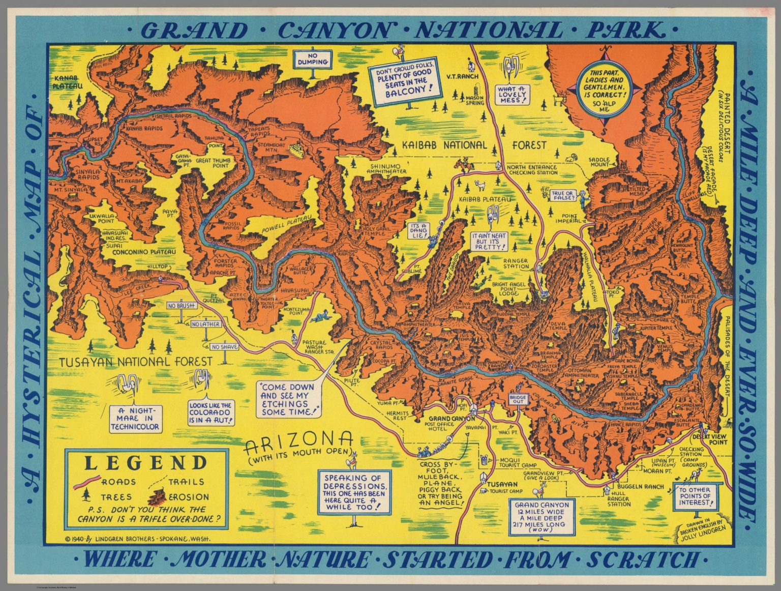 A Hysterical Map of the Grand Canyon National Park - David Rumsey ...