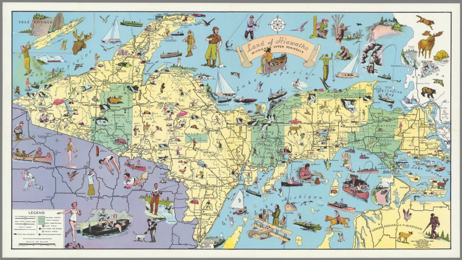 photo regarding Printable Map of Upper Peninsula Michigan titled Land of Hiawatha, Michigans Higher Peninsula - David Rumsey