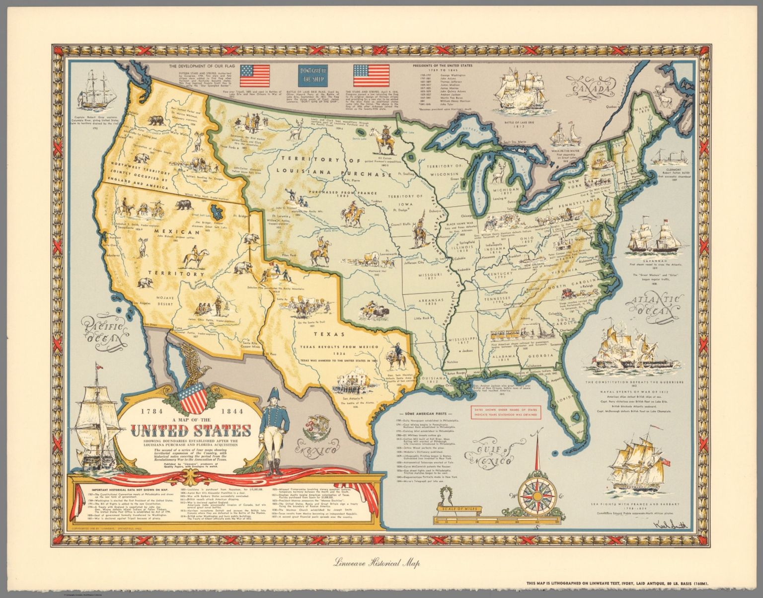 a map of the united states showing boundaries established after the louisiana purchase and