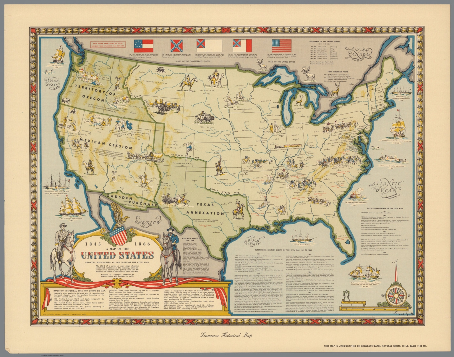 A Map of the United States Showing Boundaries at the Close of the ...