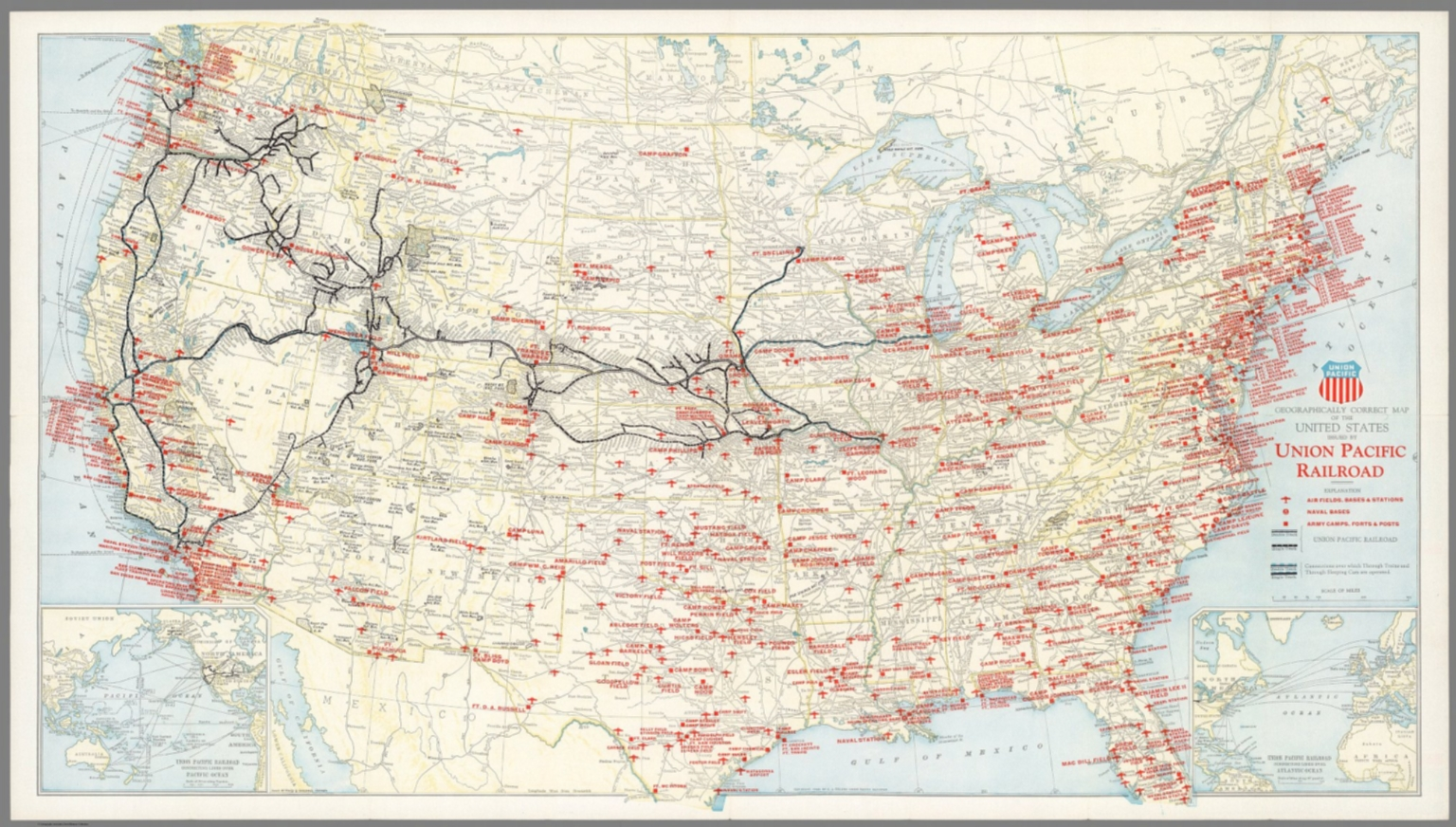 Geographically Correct Map Of The United States Issued By Union - Pacific-us-map