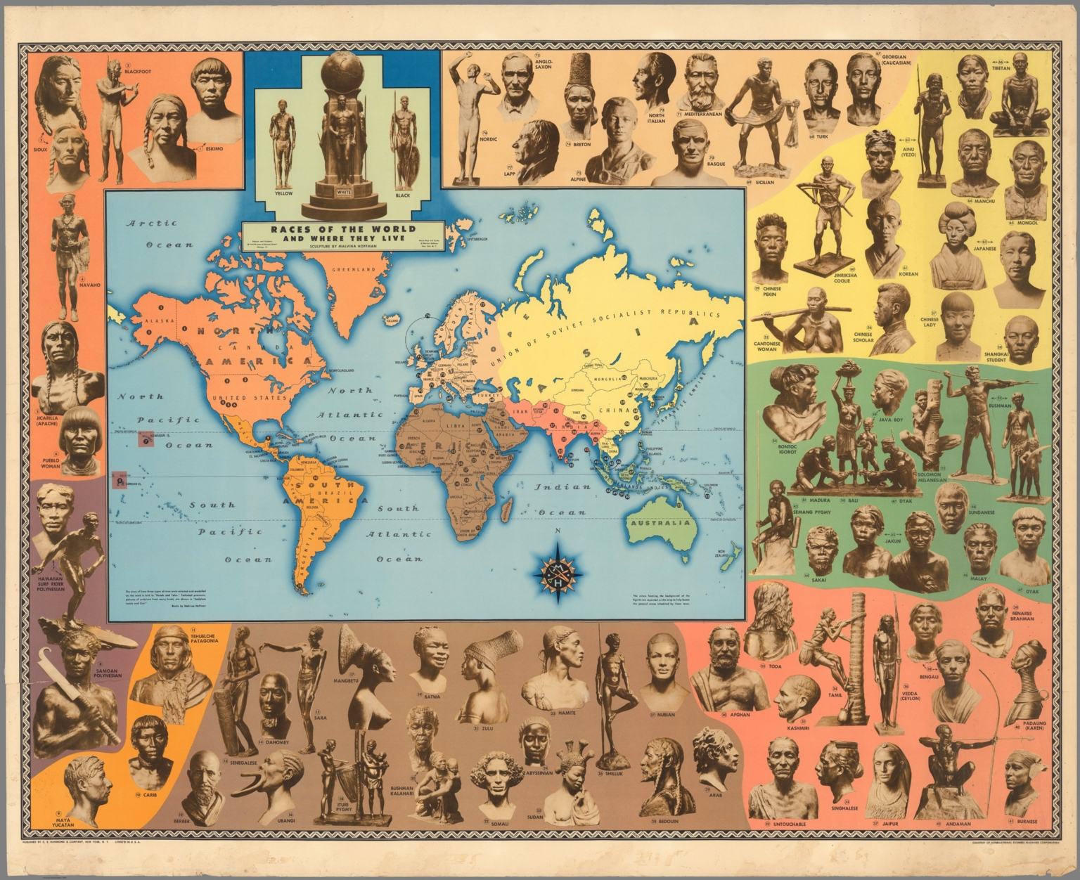 Races Of The World Map.Races Of The World And Where They Live David Rumsey Historical Map