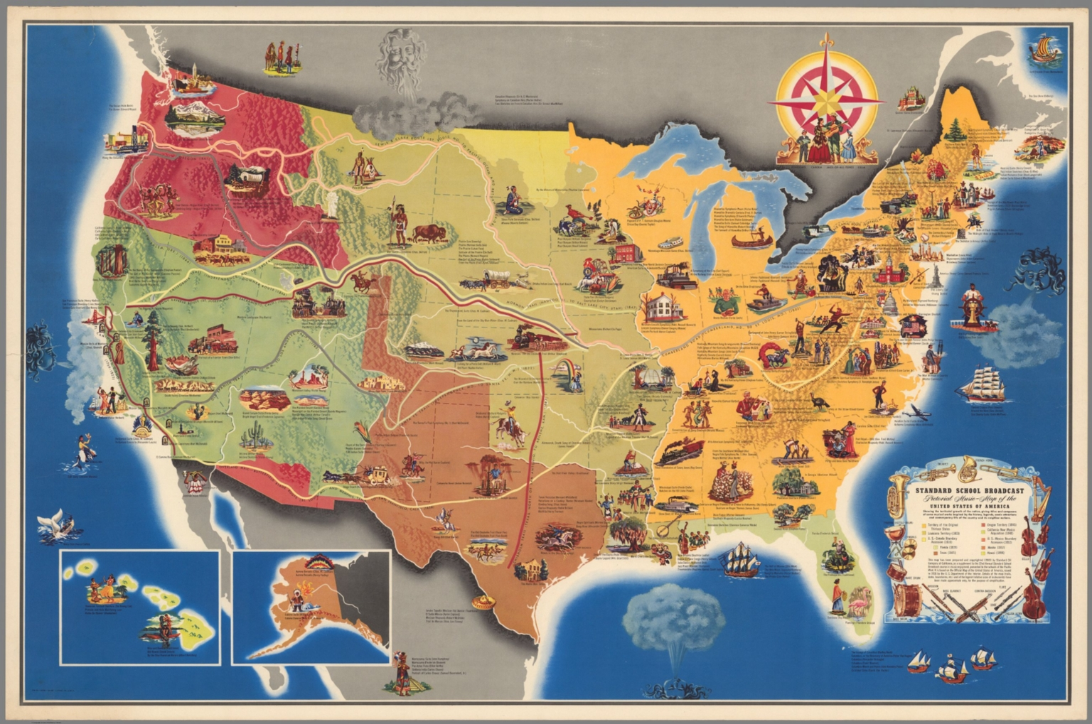 Standard School Broadcast Pictorial Music Map Of The United