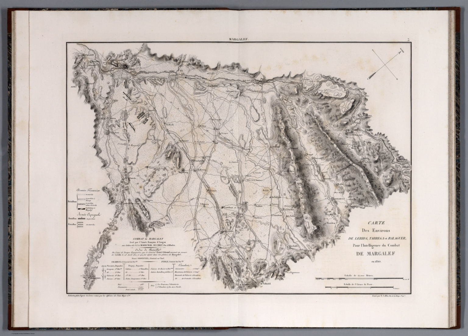 Carte Des Environs de Lerida, Tarrega et Balaguer ... in 1810.